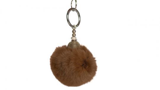 Echtfellanhänger mit Kashmir Perle braun