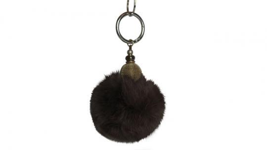 Echtfellanhänger mit Kashmir Perle dunkelbraun
