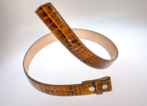 Ledergürtel mit Schlangenmuster gold/braun 85 cm