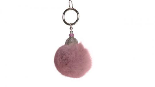 Echtfellanhänger mit Kashmir Perle powder pink