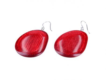 Teekri Ohrringe Pebble - deep red cherry